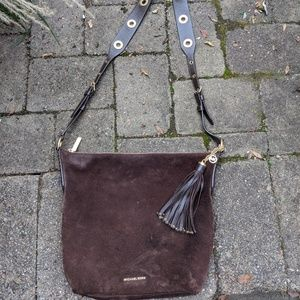 MK large suede crossbody bag